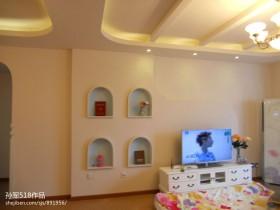 地中海风格小客厅电视柜背景墙效果图