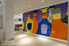 现代风格家庭室内手绘画背景墙图片