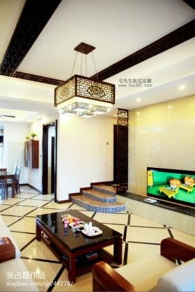 家装中式客厅承重梁吊顶装修效果图