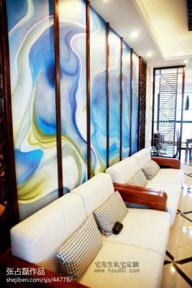 中式风格客厅沙发壁画背景墙效果图
