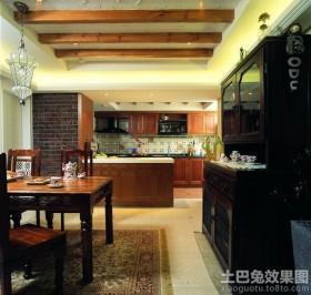 美式版开放厨房餐厅装修效果图
