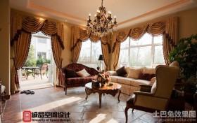 美式别墅客厅窗帘效果图