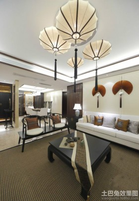 中式风格别墅客厅吊顶灯造型设计效果图