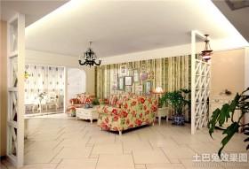 欧式田园风格客厅不吊顶装修效果图