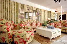 田园风格装修客厅沙发背景墙效果图