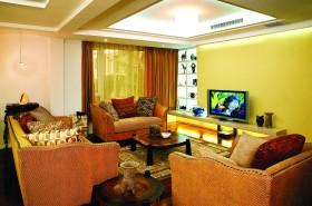 中式风格别墅客厅电视墙装修效果图