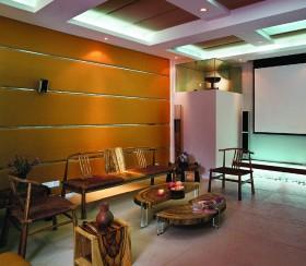 现代中式家庭影院家具摆放效果图