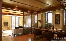 中式风格客厅屏风隔断餐厅装修效果图