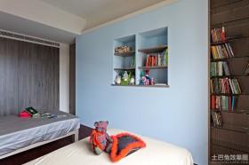 简约风格双人床卧室墙面漆效果图
