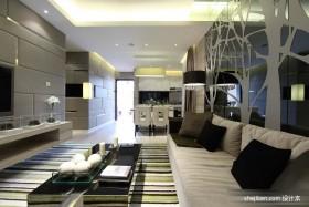 后现代风格客厅沙发玻璃墙样板间设计