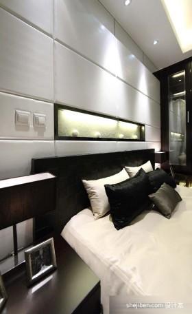 后现代风格卧室床头软包皮背景墙设计