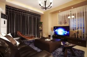 现代风格70平米小户型客厅电视墙隔断设计