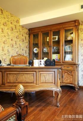 书房原木色家具装修图片