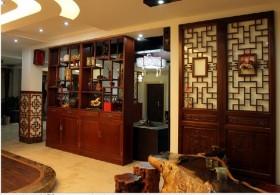 中式别墅客厅博古架效果图