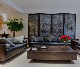 中式客厅屏风隔断装修效果图片