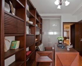 中式风格书房实木书柜装修效果图