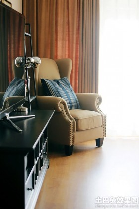 现代美式单人休闲沙发椅图片