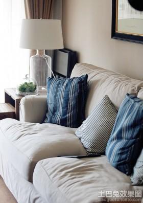 美式家庭布沙发图片