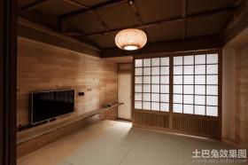日系客厅实木电视背景墙效果图