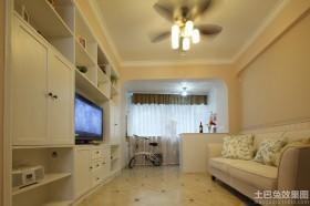田园风格60平米小户型客厅电视组合柜图片
