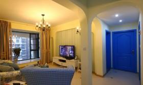 地中海风格二居壁纸电视背景墙装修效果图