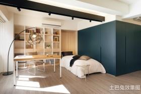 80后现代公寓卧室书房一体设计效果图