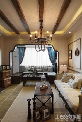 美式田园风格90平米二居客厅吊顶效果图