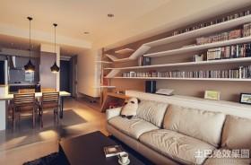 现代简约客厅置物架装修效果图