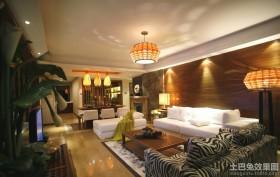 100平米东南亚风格房屋客厅装修效果图