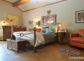 混搭风格卧室软木地板效果图