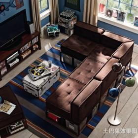 美式风格客厅布沙发图片