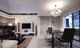 现代简约复式楼挑高客厅电视墙效果图