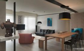 简约风格100平米二居客餐厅电视墙效果图