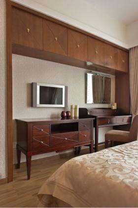 中式风格两室两厅卧室电视墙效果图