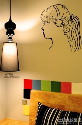 卧室背景墙卧室女孩头像黑白墙绘贴图