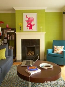 现代客厅绿色墙纸贴图图片