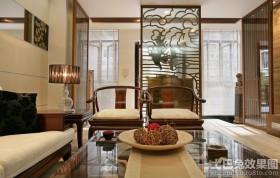 中式风格客厅屏风隔断设计效果图