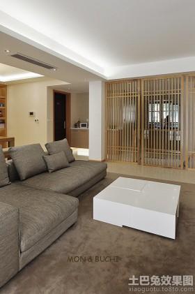 日式简约风格复式楼客厅沙发效果图