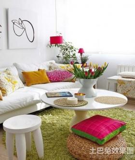 现代40平米小户型客厅圆形茶几图片