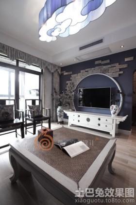 新中式风格二居客厅电视背景墙效果图