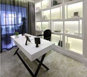 现代二居书房书桌书架装修效果图