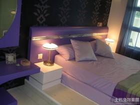 板式紫色双人床床头图片