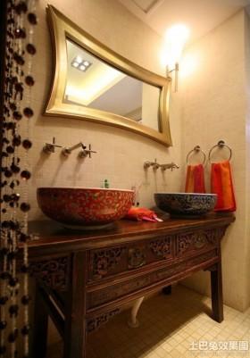 中式风格卫生间整体洗手盆图片