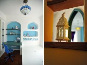 蓝色地中海书房装饰效果图