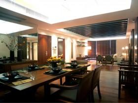 简约中式餐厅餐桌效果图