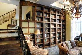 别墅客厅实木书架装修效果图