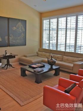 日式风格客厅高档皮沙发坐垫图片