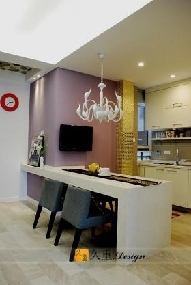 现代简约两室一厅厨房餐厅装修效果图