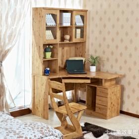 家庭实木转角书柜电脑桌图片