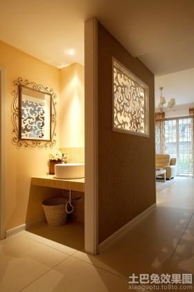洗手台装饰画洗手间隔断墙设计效果图片
